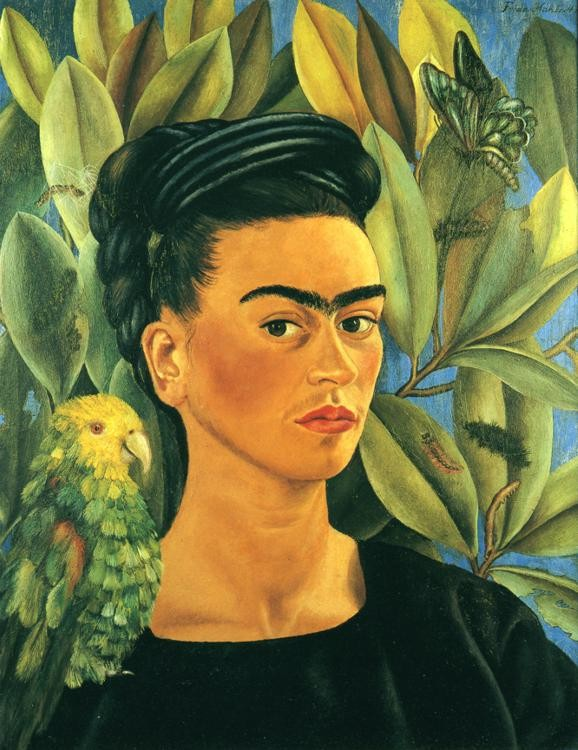 Self Portrait with Bonito, 1941 Frida Kahlo